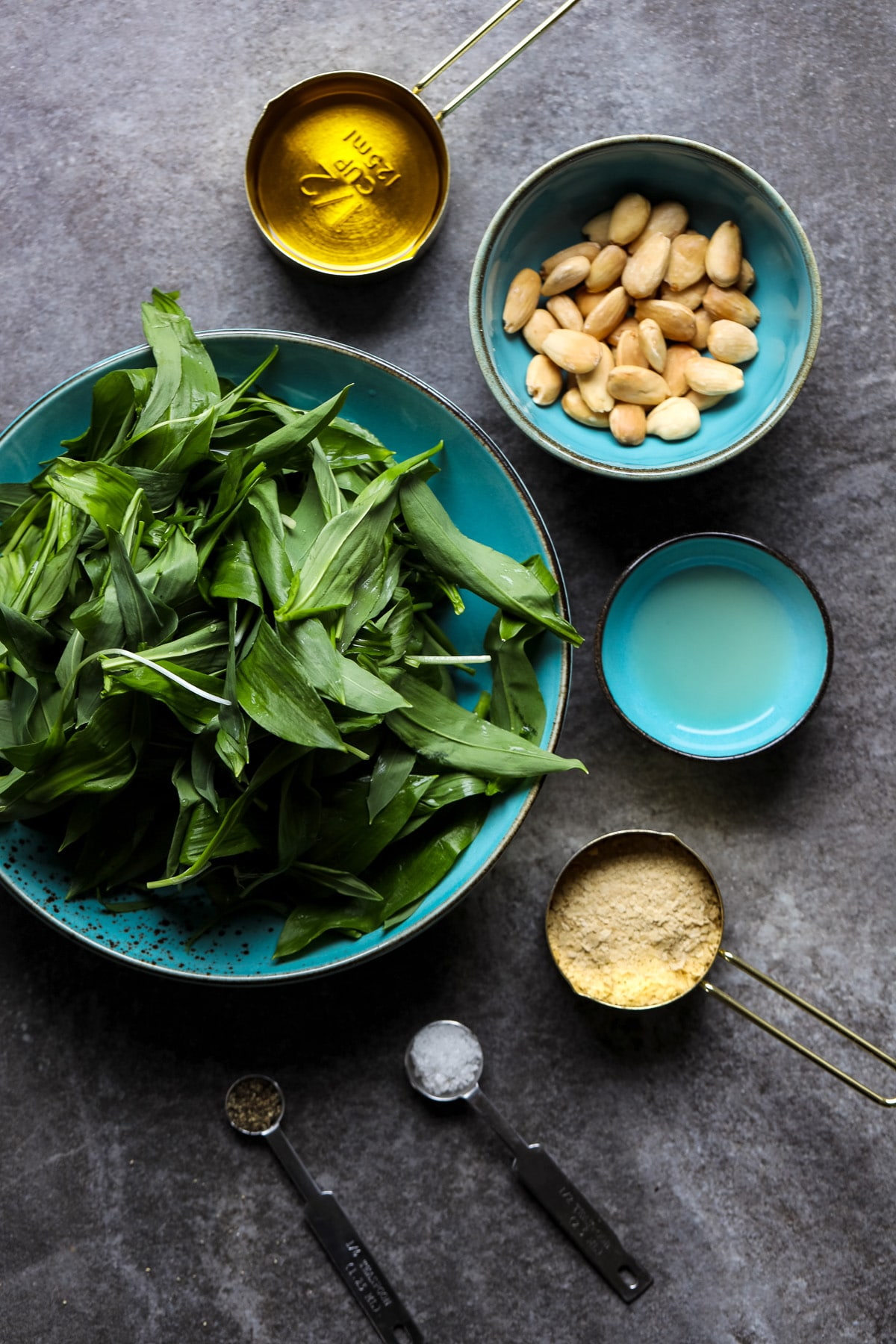 Ingredients for Wild Garlic Pesto.