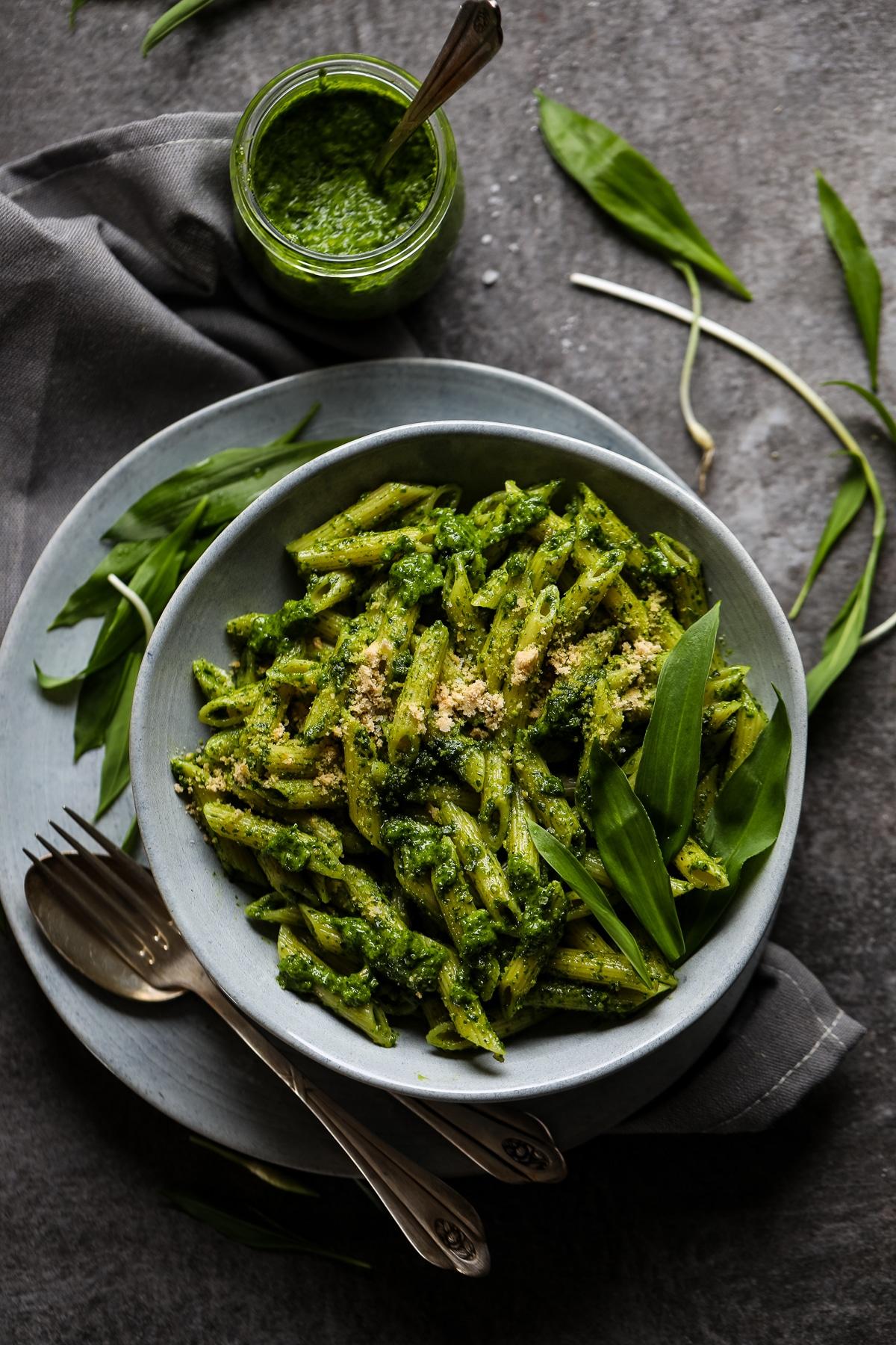 Spring Pasta with Wild Garlic Pesto.