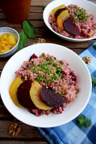 Beetroot Risotto with Goat Cheese, Wild Garlic and Walnuts