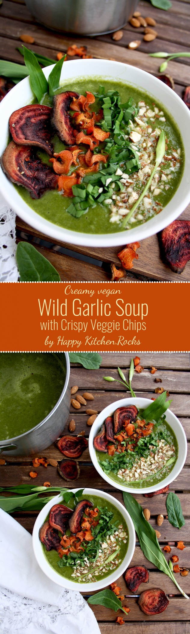 Creamy Wild Garlic Soup with Crispy Veggie Chips: Delicious and healthy vegan soup packed with spring greens and crispy baked vegetable chips. Gluten-free, vegetarian, low fat, low carb.
