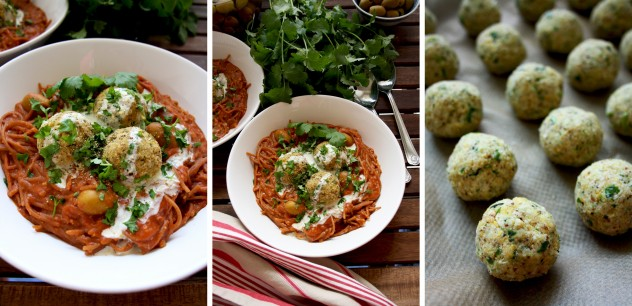 Refreshing and nutty falafel-based vegan meatballs, full of protein and nutrients, served over one-pot whole grain spaghetti with rich marinara sauce. Healthy and quick vegetarian weekday dinner idea!