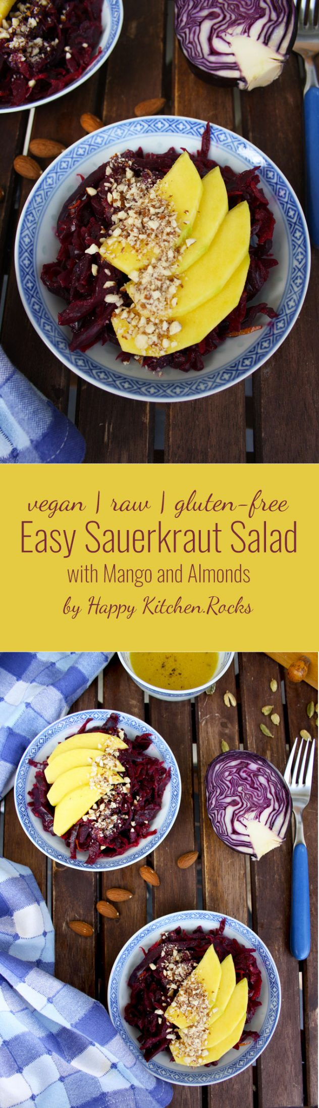 Delicious and healthy 5-minute recipe of a sauerkraut salad with mango, almonds and lemon-cardamom vinaigrette. Vegan, vegetarian, raw, gluten-free.