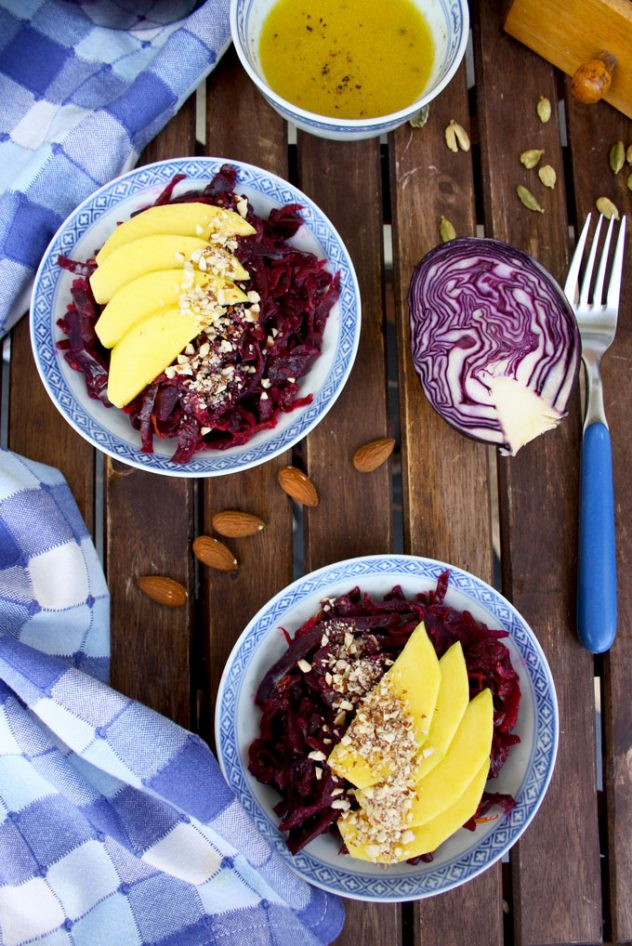Delicious And Healthy 5 Minute Recipe Of A Sauerkraut Salad With Mango Almonds And