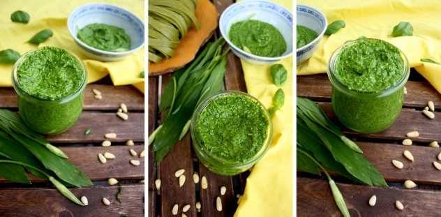 Vegan and raw Wild Garlic Pesto is a truly universal spring condiment. Perfect with pasta or as a bread spread, it goes well with all things savory. Vegetarian, gluten-free, low carb.