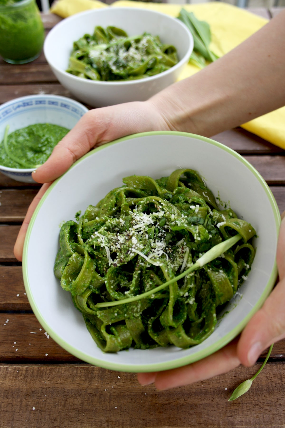 Easy Green Pesto Pasta - Holding It in Hands