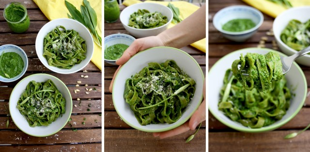 Easy Green Pesto Pasta Three Vertical Images Collage