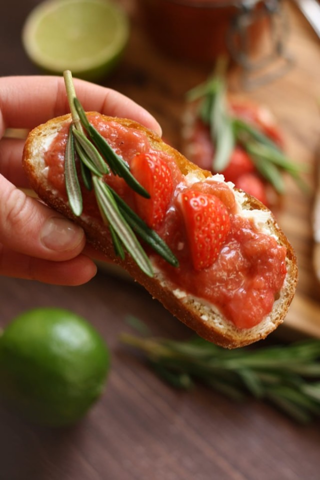 Goat Cheese Crostini with Rhubarb Chutney - Holding One Crostini in a Hand