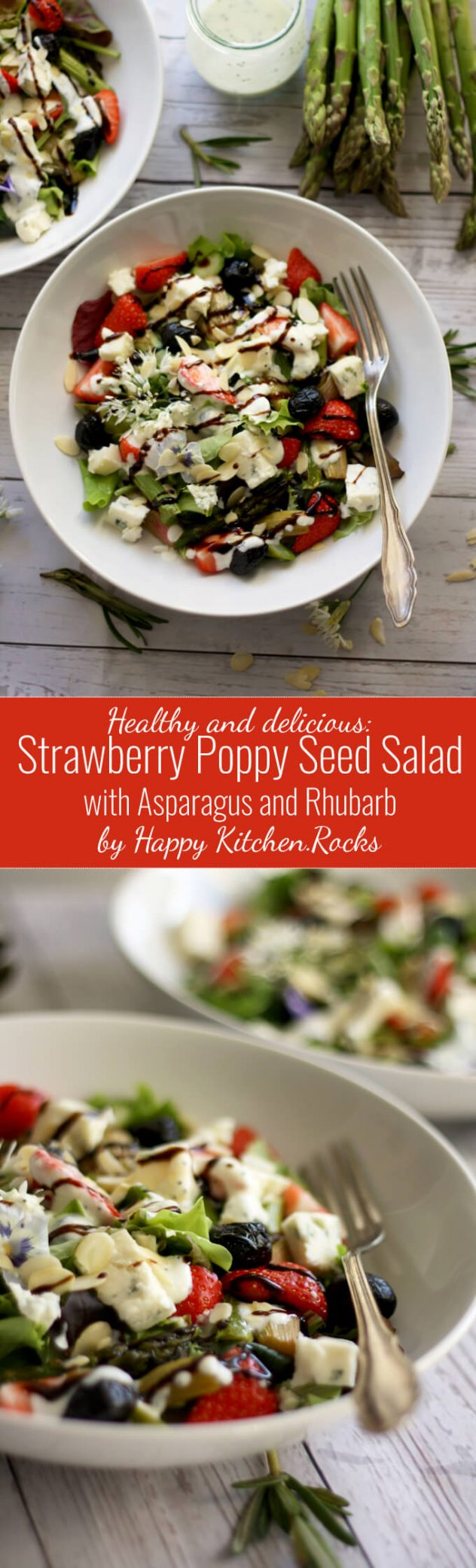 Spring Strawberry Poppy Seed Salad with roasted asparagus, rhubarb, gorgonzola cheese, olives and almonds is incredibly delicious, healthy and takes no more than 30 minutes to make! Perfect for light lunch! Low carb and vegetarian.