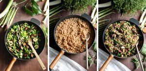 Spring Brown Rice Risotto - Lineup of Three Vertical Images