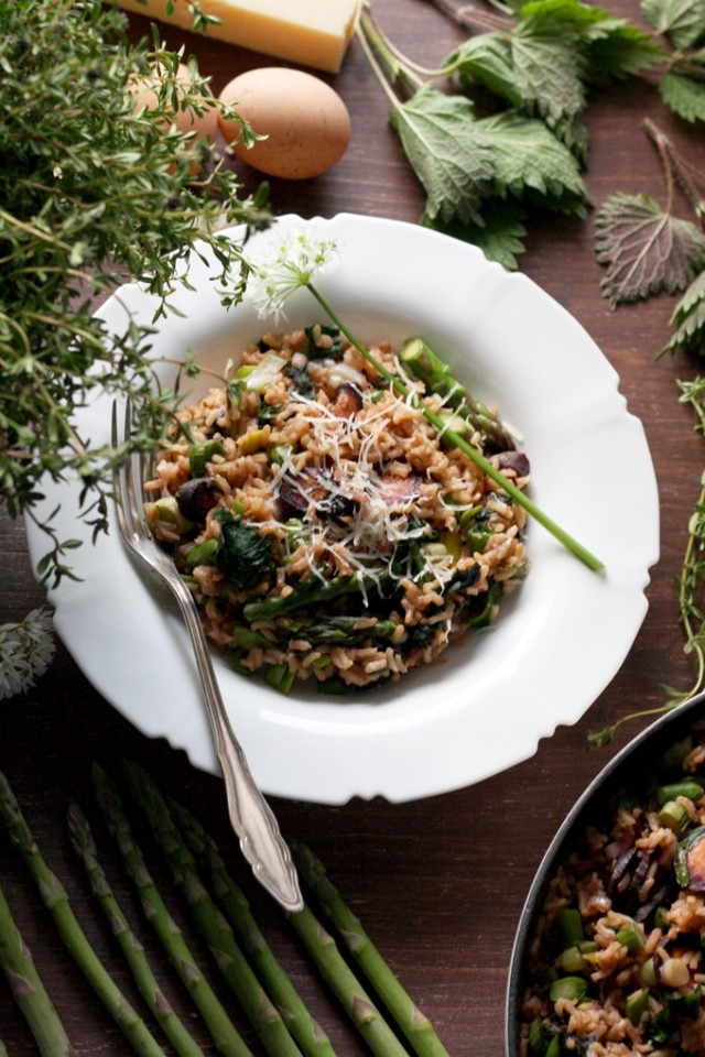 Spring Brown Rice Risotto Overhead Shot with Lots of Greens in the Frame