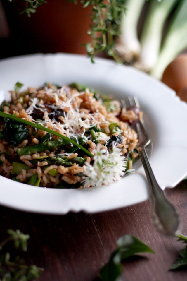 Spring Brown Rice Risotto Beautifully Decorated in a White Plate