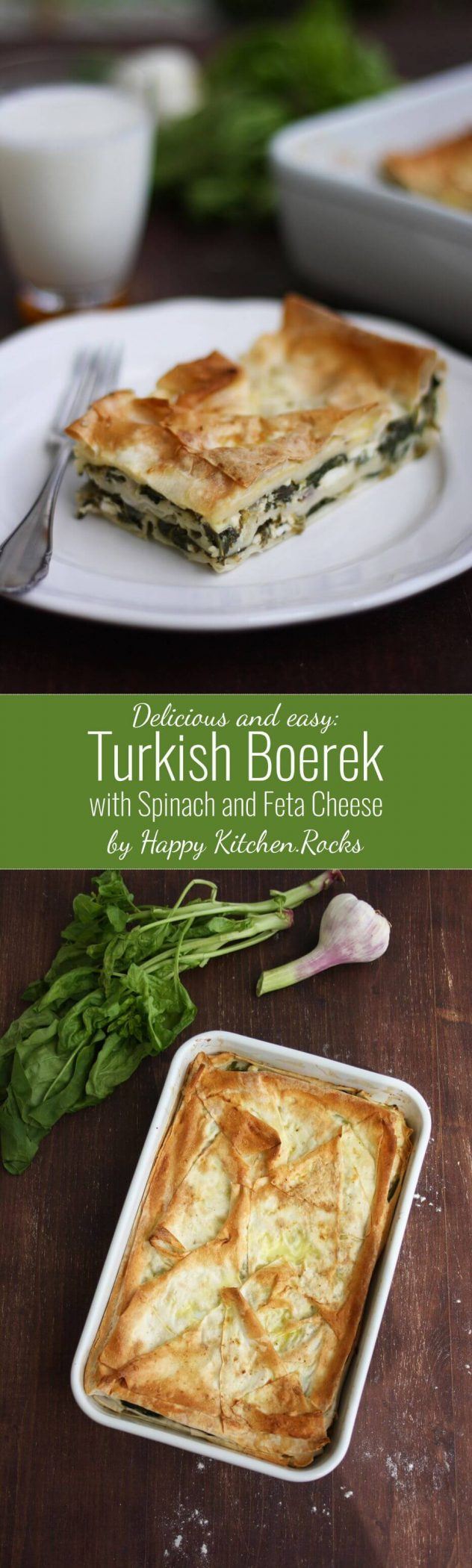 Turkish Boerek with Spinach and Feta Cheese Super Long Collage with Text Overlay