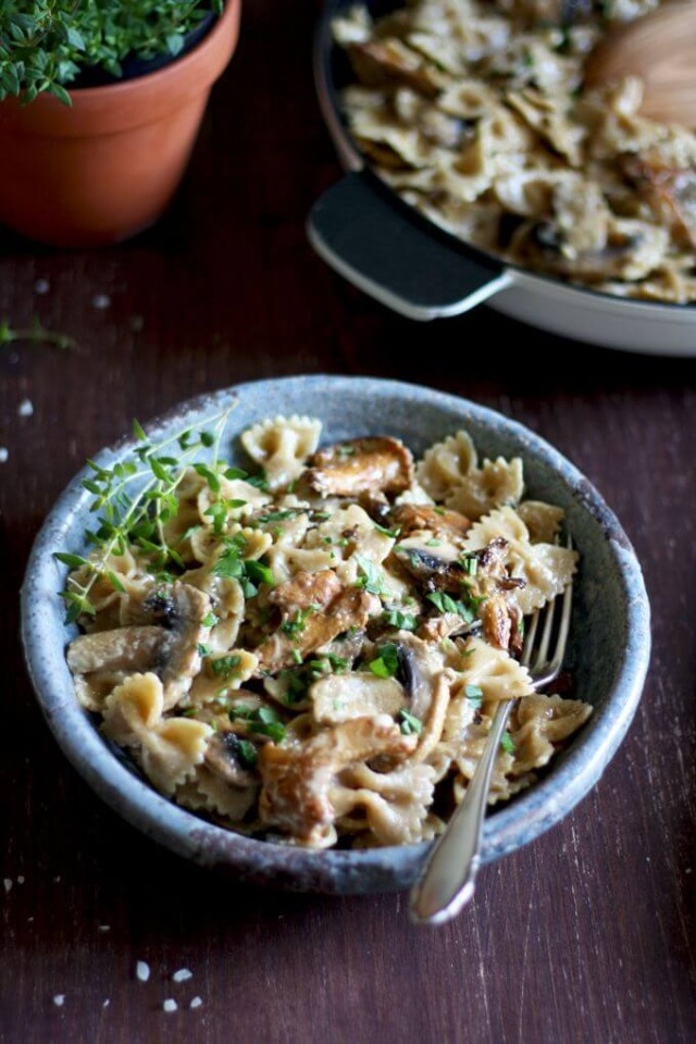 Rustic Creamy Mushroom Pasta Served with a Metal Fork