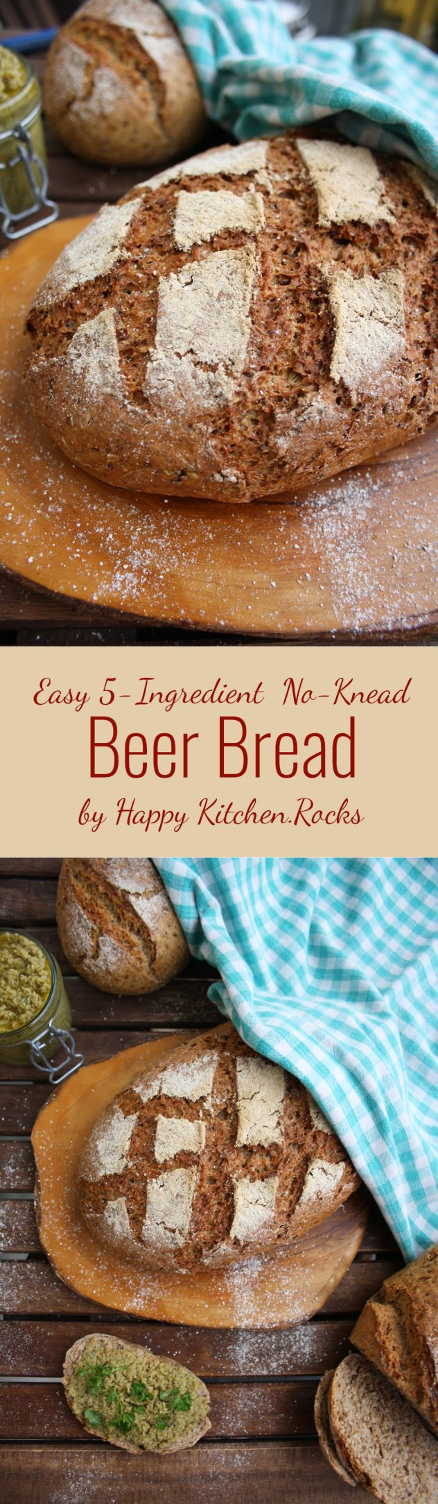 Easy and crusty no-knead 5-ingredient beer bread recipe. Sweet, delicious, healthy and nutritious bread with a little prickliness.
