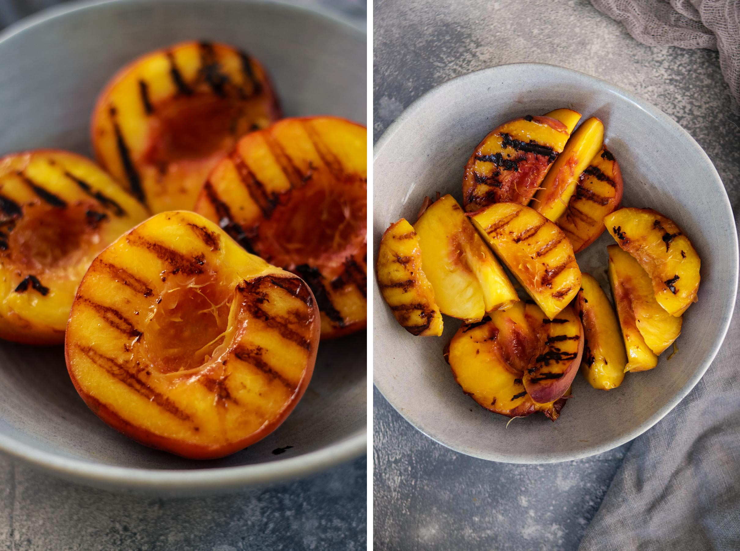 Grilled Peaches Next to Sliced Grilled Peaches in a Bowl