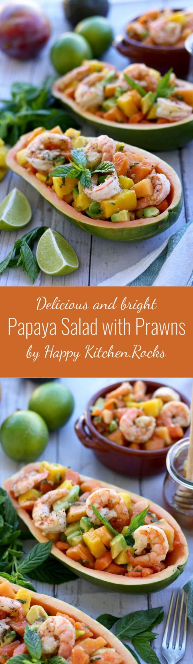 Refreshing and bright papaya salad with tropical fruits and prawn is a perfect summer salad recipe. Easy to make, gluten free, dairy-free, paleo, healthy and full of flavor!