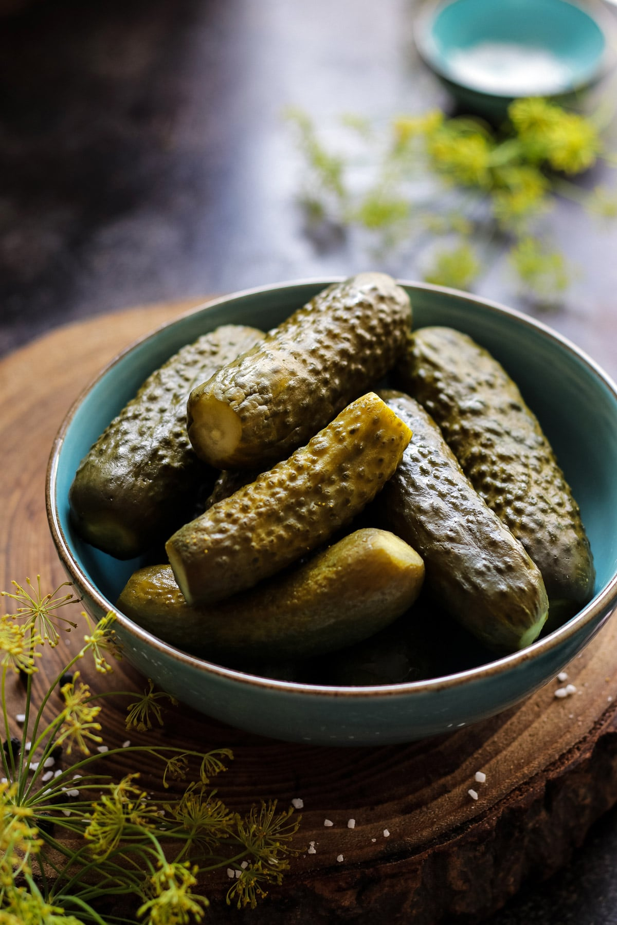 Pickled cucumbers served in a bowl