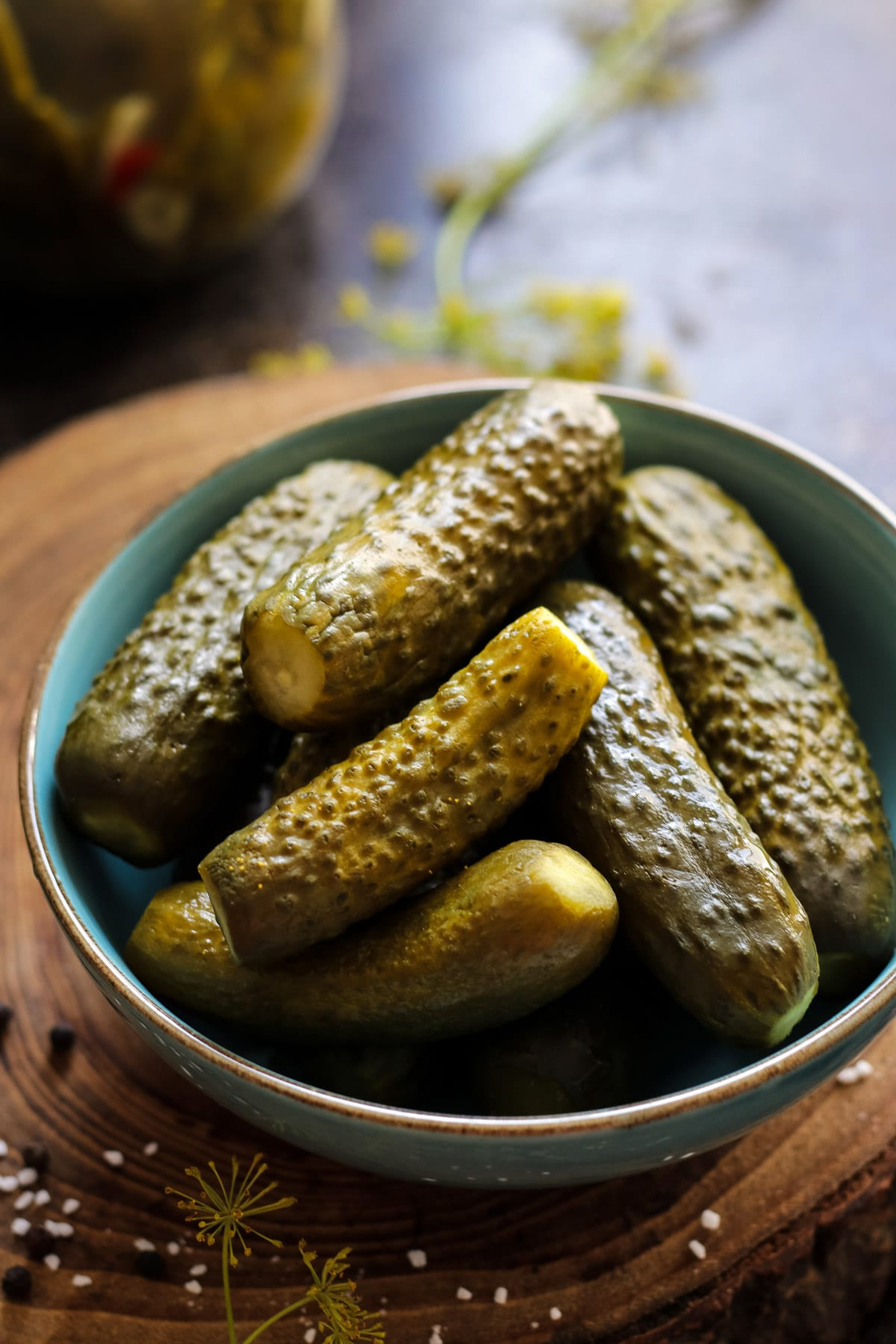 Russian dill pickles in a bowl