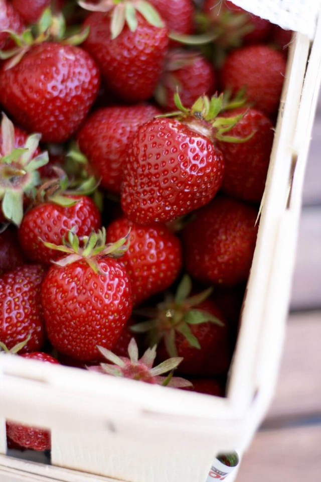 Raw Strawberries in a Basket