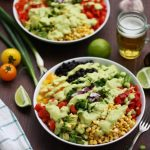 Vegan Mexican Chopped Salad with Avocado Dressing Angle Shot