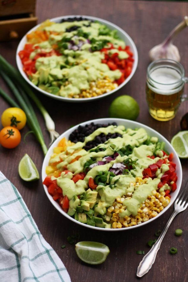 Vegan mexican chopped salad with avocado dressing happy kitchencks easy and delicious gluten free recipe of a vegan mexican chopped salad with avocado dressing forumfinder