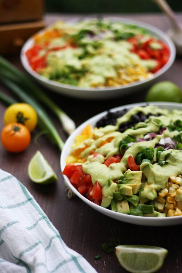 Mexican Chopped Salad Served with Lime Wedges