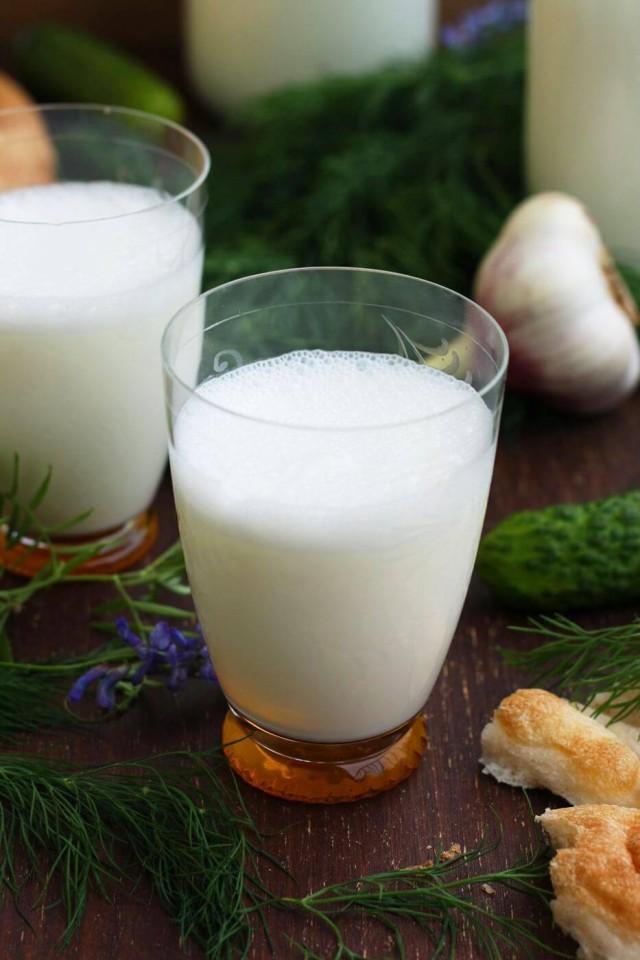 A glass of Turkish yogurt drink.