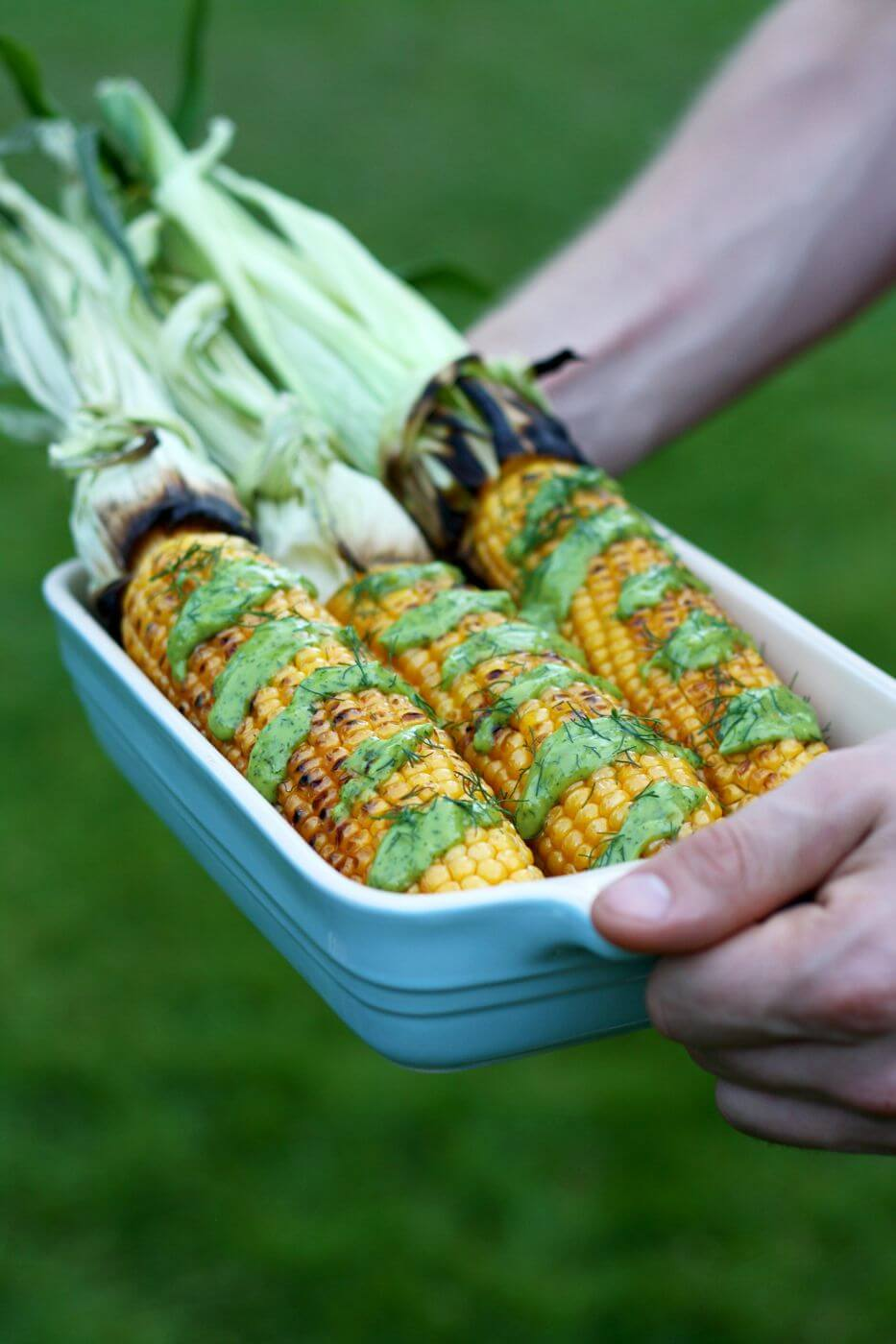 Grilled Corn on the Cob with Creamy Avocado Dill Dressing