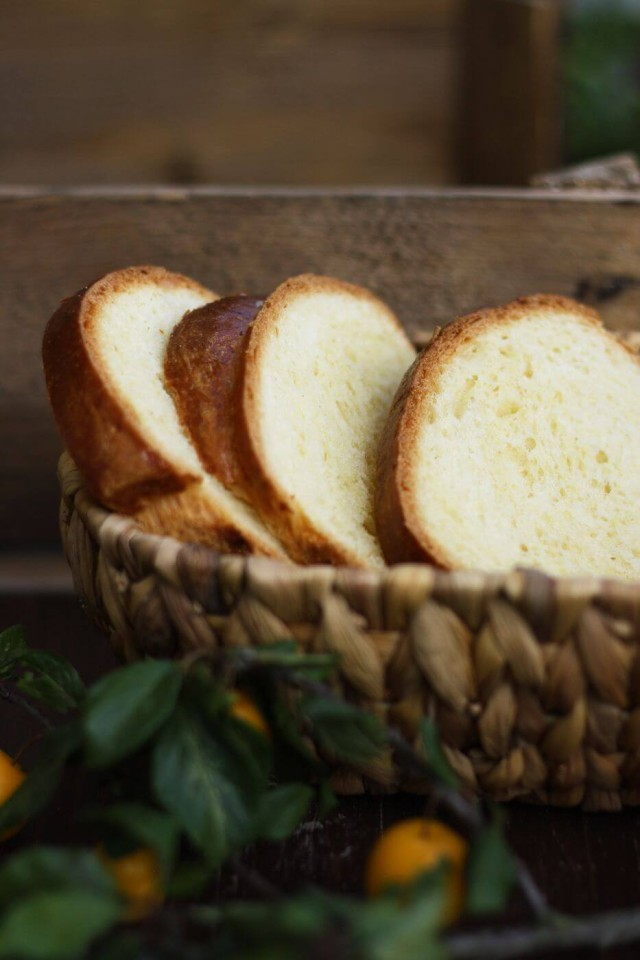 Healthier Brioche French Toast Bread Pieces in a Basket - Homemade French Brioche Bread