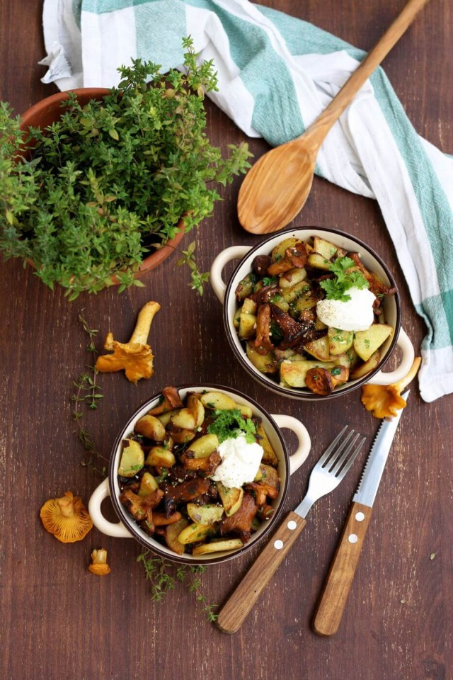 Russian Pan-Fried Potatoes with Wild Mushrooms Overhead Shot on Two Serves with a Green Plant Next to Them