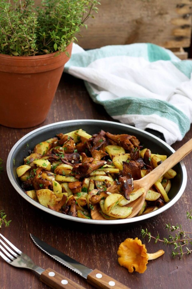 Russian Pan-Fried Potatoes with Wild Mushrooms Served in a Pan