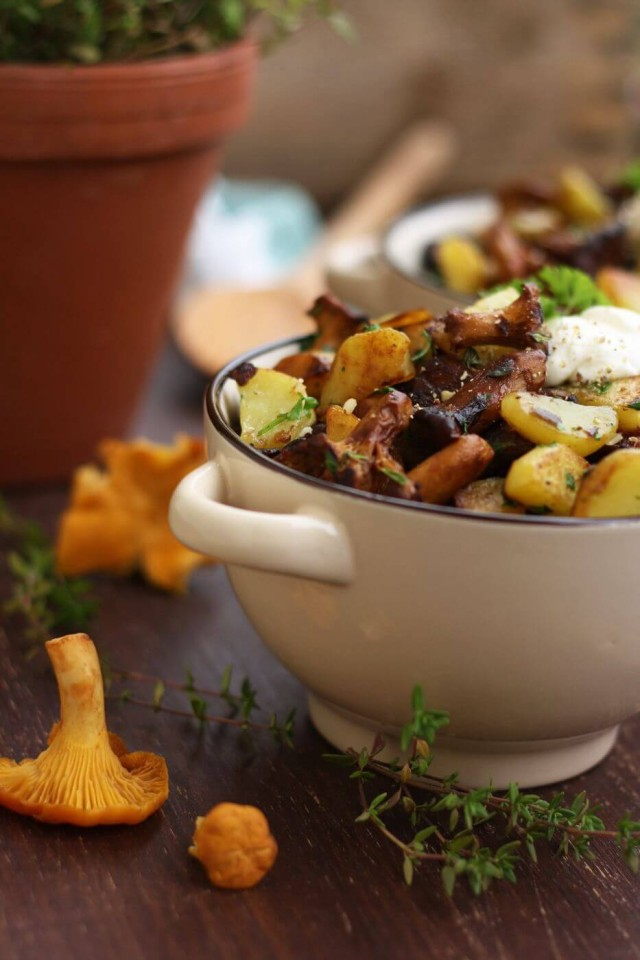 Russian Pan-Fried Potatoes with Wild Mushrooms in a Bowl with Mushroom Around