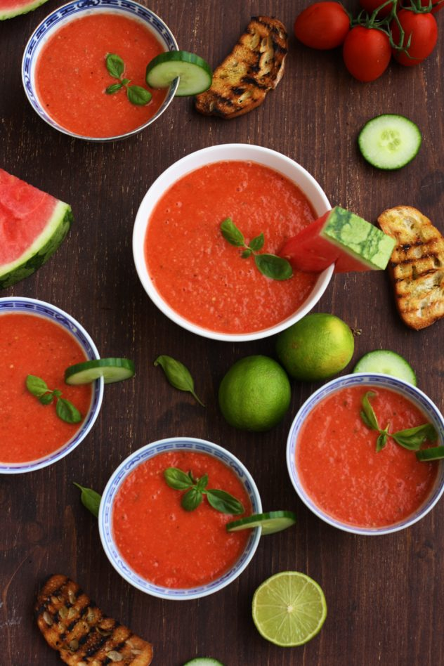 Refreshing and light watermelon gazpacho is a perfect vegan and raw summer soup. This easy recipe only takes 15 minutes to make!