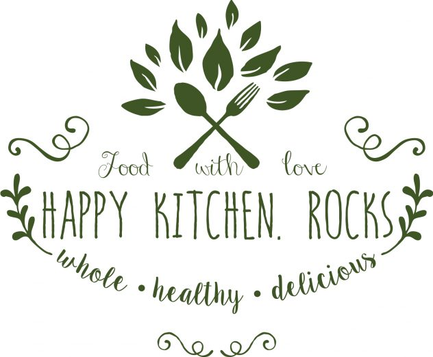 Logo Happy Kitchen.Rocks - A food blog with whole, healthy and delicious recipes that are easy to make.