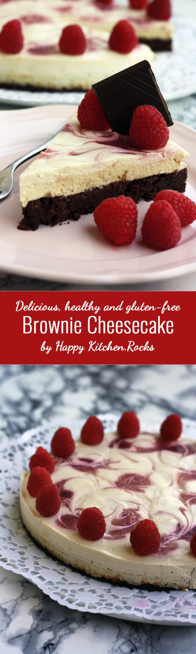Fudgy brownie meets creamy cheesecake! Delicious, healthy and gluten-free brownie cheesecake with raspberry swirl. Easy 50-min recipe from start to finish!