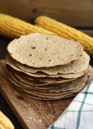 Homemade Whole Wheat Tortilla with Corn in the Background