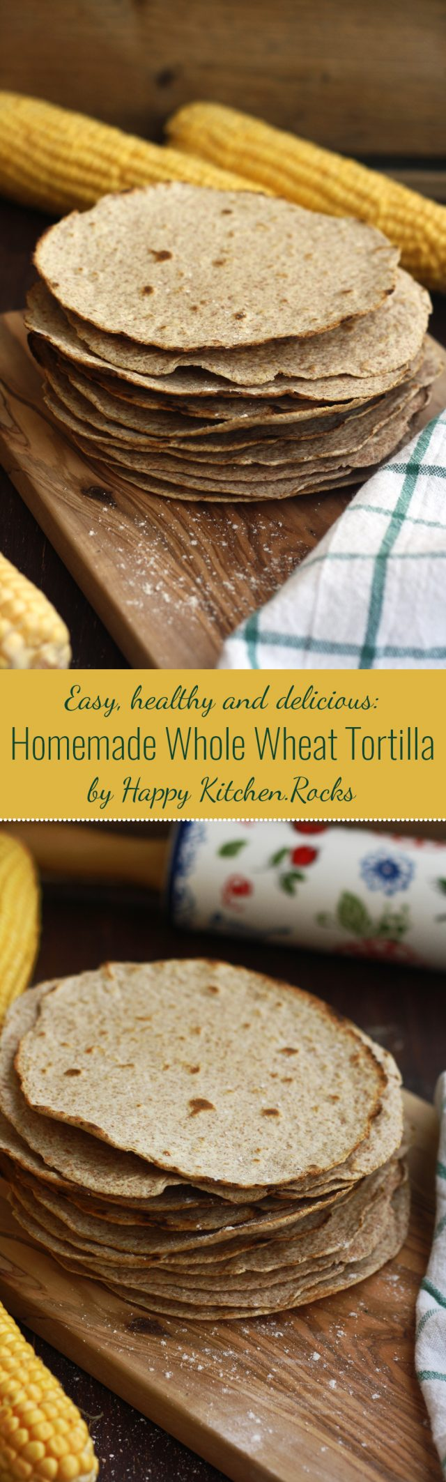 Easy homemade whole wheat tortilla recipe only takes 30 minutes to make from scratch! They freeze well and are much healthier and cheaper than store-bought.
