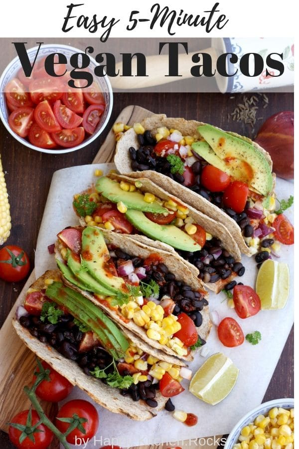 Pinterest Collage of Vegan Tacos with Black Beans, Corn, Tomatoes and Avocados