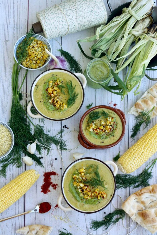 Incredibly creamy and easy vegan corn chowder soup recipe is ready in under 30 minutes. This smoky corn chowder is made of corn, zucchini, bell peppers, potatoes, coconut milk and millet. Perfect soup for early fall!