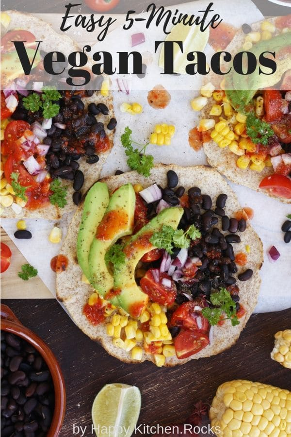 Vegan Tacos Flatlay Pinterest Image with Text Overlay