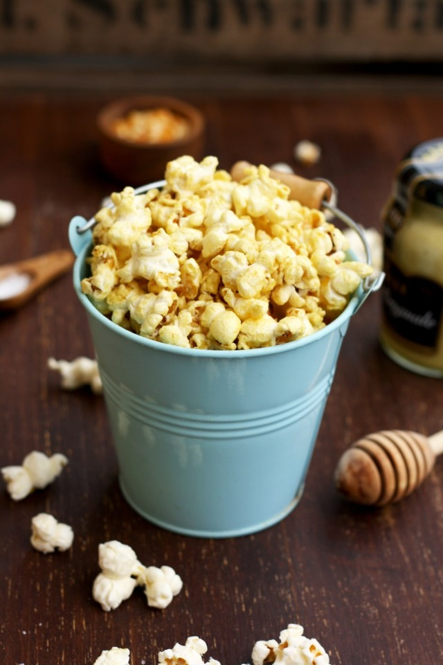 Always Perfect Stovetop Popcorn Side Shot of a Tiny Cute Blue Bucket Full of Popcorn