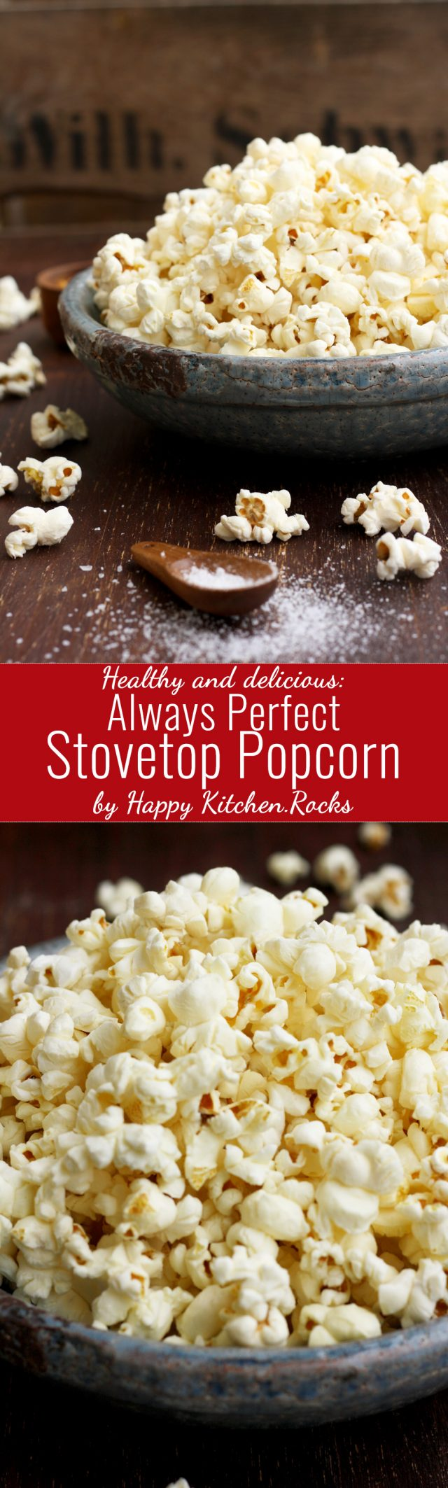 Stovetop popcorn makes for a great healthy snack ready within minutes! With this easy recipe your stovetop popcorn will always come out perfectly popped!