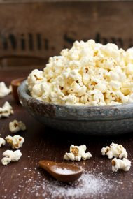 Always Perfect Stovetop Popcorn Beautiful Closeup on a Bowl