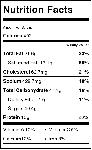 Healthy Brownie Cheesecake Nutrition Facts Card