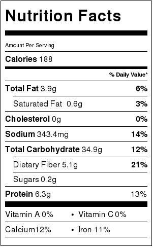 Homemade Whole Wheat Tortilla Nutrition Facts Card