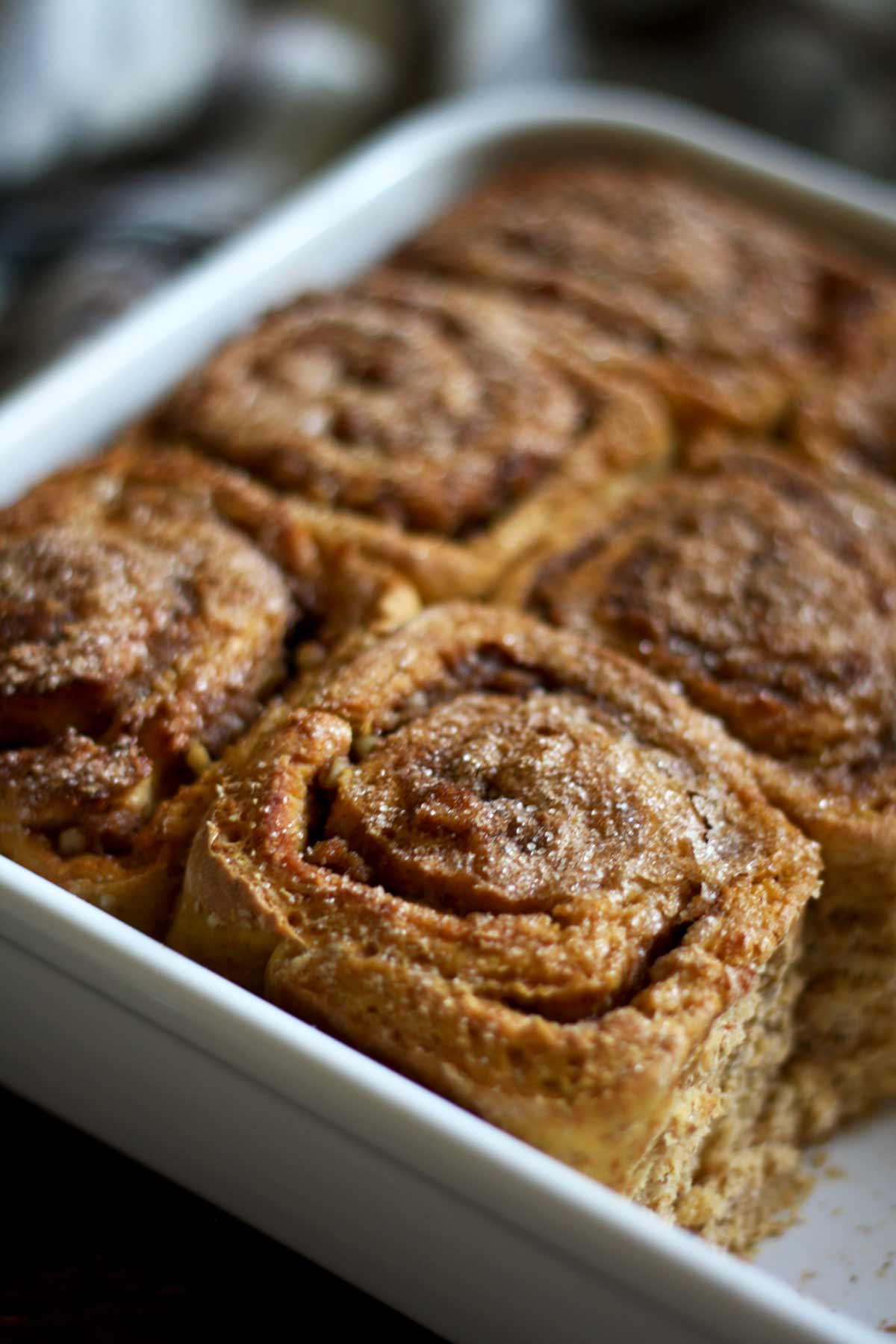 Healthy Cinnamon Sweet Potato Rolls in a Tray Closeup