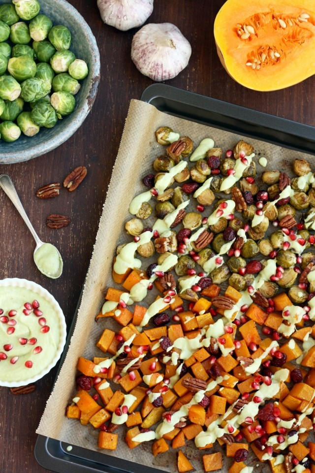Roasted Brussels Sprouts with Butternut Squash Overhead - Ready to Be Served
