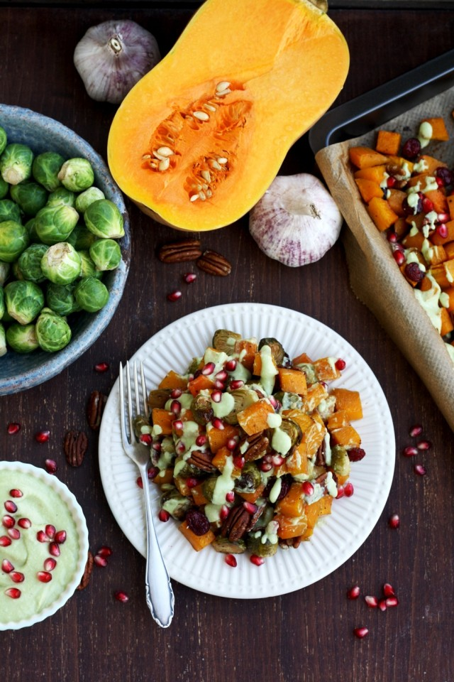 The best balsamic-maple roasted Brussels sprouts with butternut squash, pecans, cranberries and avocado roasted garlic dressing. Ultimate healthy vegan Thanksgiving side dish ready in just 40 minutes!