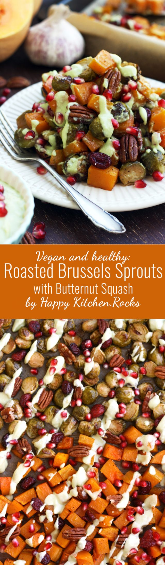 Roasted Brussels Sprouts with Butternut Squash Super Long Collage of Two Images and Text Overlay
