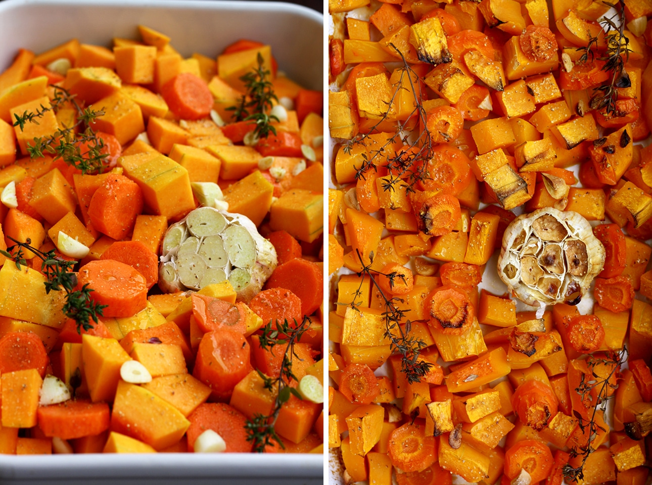 Roasted Butternut Squash and Garlic Before and After